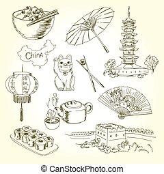freehand, desenho, china, itens