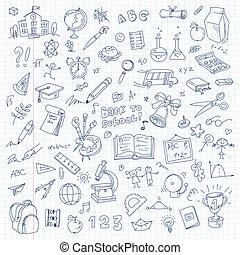 freehand, desenho, escola, ligado, um, folha, de, livro...