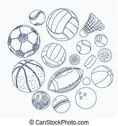 freehand, dessin, sport, balles, sur, a, feuille, de, cahier