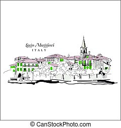 Freehand digital drawing of Lago Maggiore, Italy Sketchy...