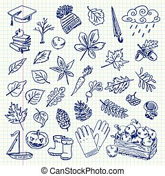 drawing autumn items - Freehand drawing autumn items on a ...