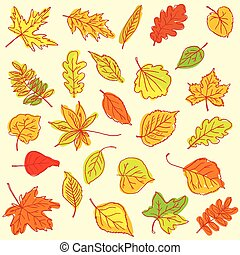 Freehand drawing autumn leaves item