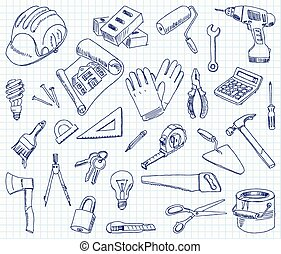 Freehand drawing building materials