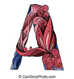 Freehand drawing capital letter A with floral doodle pattern. Vector element for your design