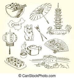 Freehand drawing China items on a sheet of exercise book. ...