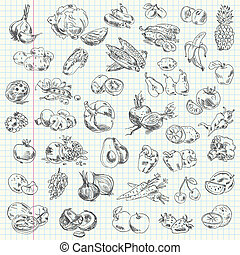fruit and vegetables - Freehand drawing fruit and vegetables...
