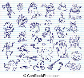 Freehand drawing halloween on a sheet of exercise book. ...