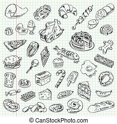 Freehand drawing high-calorie food on a sheet of exercise...