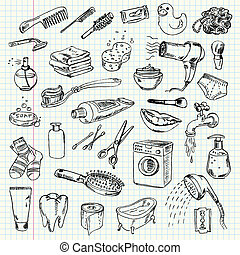 Freehand drawing hygiene and cleaning products on a sheet of exercise book. Vector illustration. Set