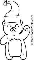 black and white cartoon teddy bear waving