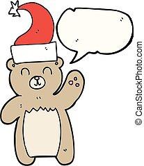speech bubble cartoon teddy bear waving