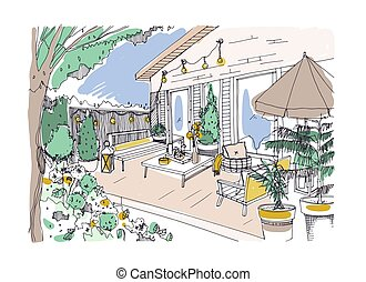 Freehand drawing of backyard patio or terrace furnished in...