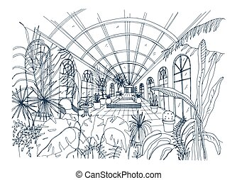 Freehand drawing of interior of greenhouse full of tropical ...
