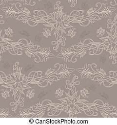Freehand drawing of lilies. Seamless pattern