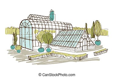 Freehand drawing of pavilion or greenhouse surrounded by bushes and trees growing in pots. Sketch of glass facade of orangery or botanical garden. Hand drawn vector illustration in vintage style.