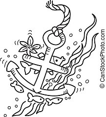 drawing of sunken anchor - Freehand drawing of sunken...