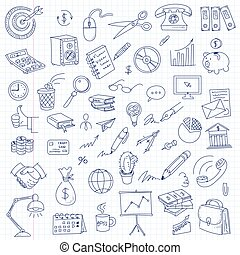 Freehand drawing office on a sheet of exercise book -...