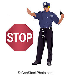 Freehand drawing on a white background police man in uniform with gun showing stop hand.