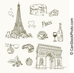 Freehand drawing Paris items on a sheet of exercise book....