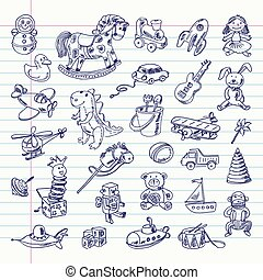 retro toys items - Freehand drawing retro toys items on a ...