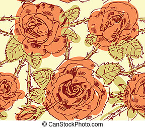 Freehand drawing roses