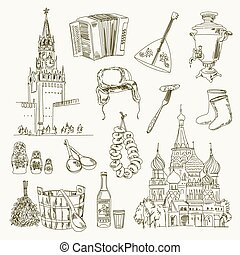 Freehand drawing Russia items on a sheet of exercise book. Moscow Kremlin. Saint Basil's Cathedral. Vector illustration. Isolated on white background