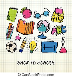 Freehand drawing school icon on a sheet of exercise book. Back to School doodle. Vector illustration.