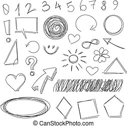Freehand drawing scribble items. Pencil drawing. Isolated on...