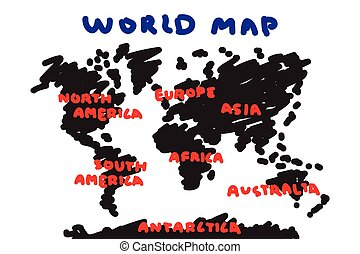 Freehand drawing style of world map and continent .