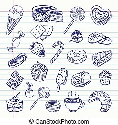 sweetness - Freehand drawing sweetness items on a sheet of...