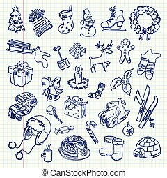 Freehand drawing Winter holiday items on a sheet of exercise book. Vector illustration. Set
