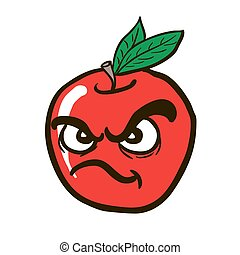 freehand drawn angry apple
