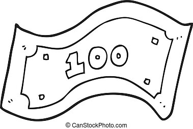black and white cartoon 100 dollar bill - freehand drawn ...
