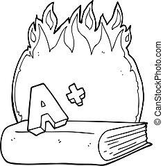 black and white cartoon A grade symbol and book