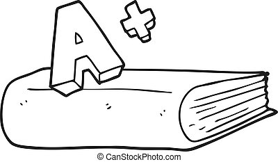 black and white cartoon A grade symbol and book - freehand...