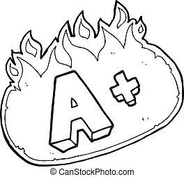 black and white cartoon A grade symbol