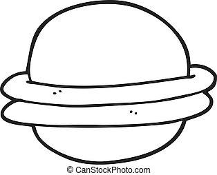 black and white cartoon alien planet