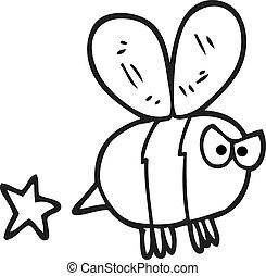 black and white cartoon angry bee
