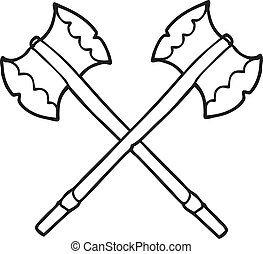 black and white cartoon axes