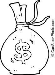 black and white cartoon bag of money