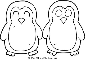 black and white cartoon birds holding hands