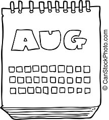 black and white cartoon calendar showing month of august