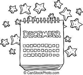 black and white cartoon calendar showing month of December