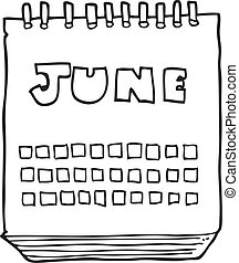black and white cartoon calendar showing month of