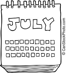 black and white cartoon calendar showing month of July