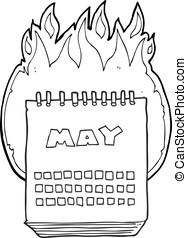 black and white cartoon calendar showing month of may
