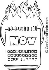 black and white cartoon calendar showing month of November