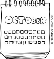 black and white cartoon calendar showing month of october