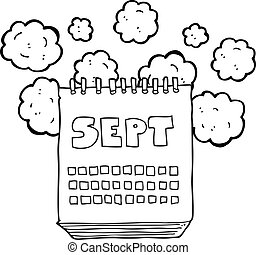 black and white cartoon calendar showing month of September