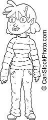 black and white cartoon casual alien girl
